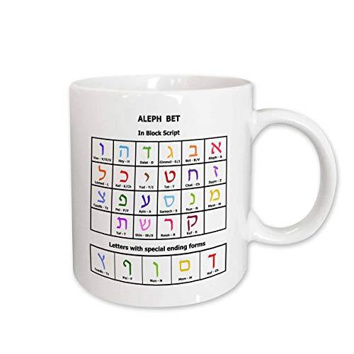 (3dRose InspirationzStore - Judaica - Hebrew Alphabet table - Aleph Bet - Ivrit Alef Beit colorful letters - 11oz Mug)