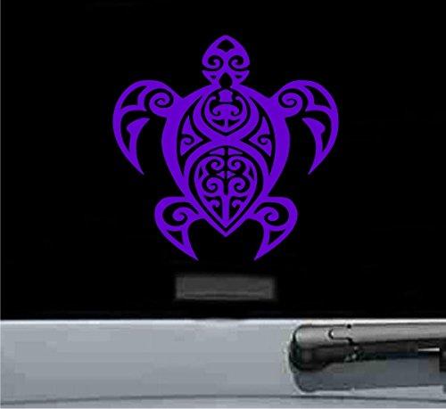 JS Artworks Tribal Turtle Vinyl Decal Sticker (Purple)