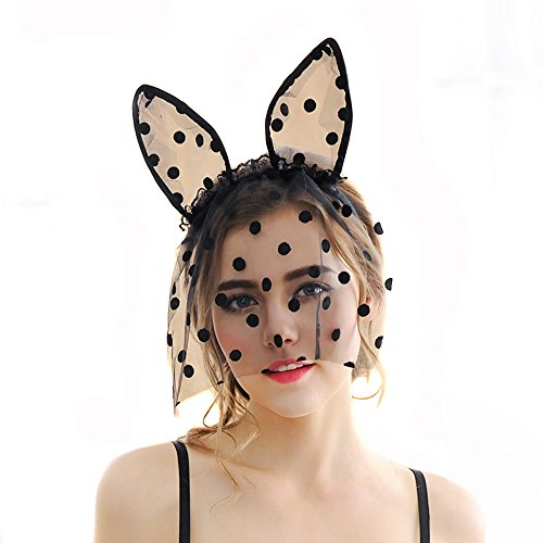 Cute Costume Party Headband Veil--Sexy Black Dot Lace Mask Veil Bunny Cat Ears Hairband for Xmas Halloween Party