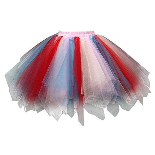 Lenfesh Femme Tutu Jupe - Jupe de Danse - Jupe Courte en Gaze plisse de Haute qualit - Jupe Tutu pour Adulte Multicolore F