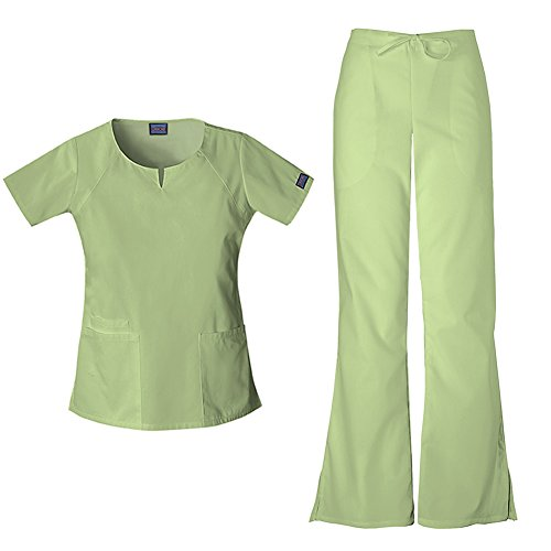 (Cherokee Women's Workwear Round Neck Top 4824 & Drawstring Flare Leg Pant 4101 Scrub Set (Sage Green - Small/XSmall Petite))