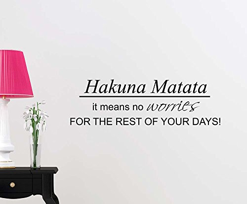 Hakuna Matata it means no worries for the rest of your days cute fairy magical playroom sticker nursery vinyl saying lettering wall art inspirational sign wall quote decor by Simple Expressions Arts