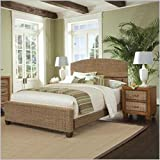 Home Styles Cabana Banana Queen Natural Woven Bed 2 Piece Bedroom Set in Honey Finish