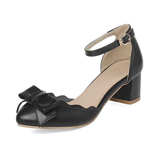 Balamasa Dames Gesponnen Goud Strik Kantornament Enkel Manchet Geïmiteerd Lederen Pumps-schoenen Zwart