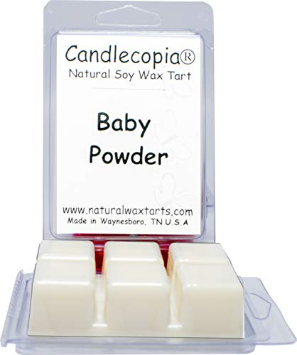 Candlecopia Baby Powder Strongly Scented Hand Poured Vegan Wax Melts, 12 Scented Wax Cubes, 6.4 Ounces in 2 x (Newborn Scented Baby Powder)