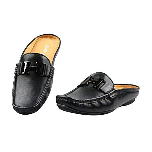 Santimon-hombres Cómodas Zapatillas De Cuero Genuino Sin Respaldo Ocio Slip-on Loafters Zapatillas Zapatos Negro