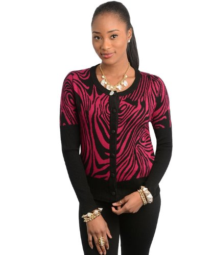 G2 Chic Women's Zebra Print Long Sleeve Button-Up Sweater Cardigan(TOP-CGN,MGN-SM)
