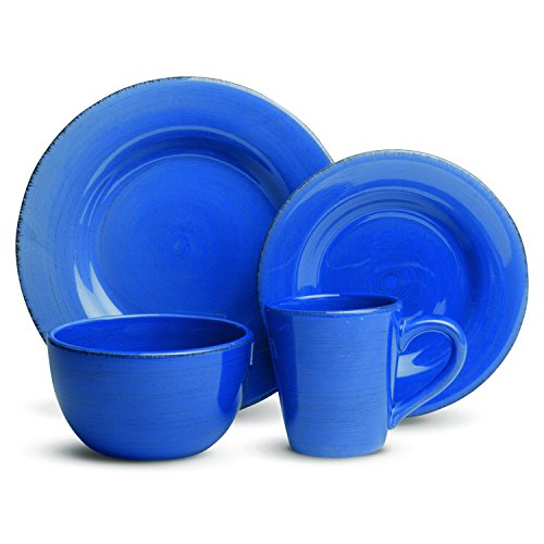 Blue 16 Piece (tag - Sonoma 16-Piece Ironstone Ceramic Dinner Set, A Stylish Way to Bring Bold Color to Your Table, Cornflower)