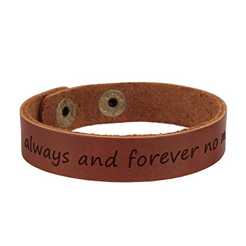 Personalized Engraved Leather Bracelet for Men Adjustable Wristband, Best Gift for Husband/Boyfriend, Men Anniversary Gifts-Always and Forever no Matter What (Personalized Leather Engraved)