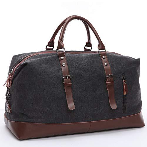 YAOJU Canvas Handgepäck Tasche, Duffel Vintage Segeltuch Canvas PU Leder Unisex Sporttasche für Reise am Wochenend Tragetasche Schultertasche Handtasche Travel Bags (Black)