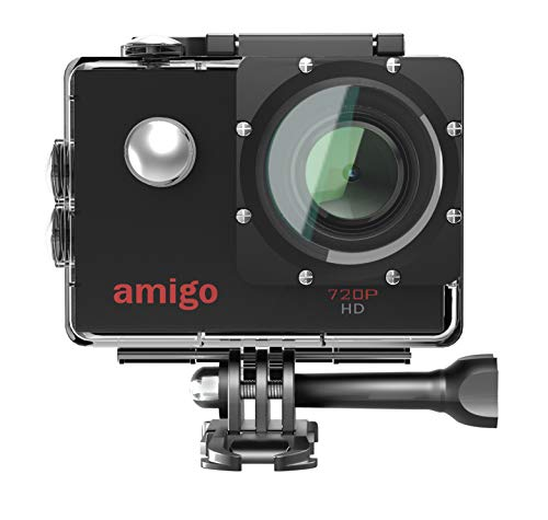Amigo AC-11 HD Sports Action Camera with 12MP High Resolution Lens | 720p HD Image with Wide Angle Lens and Waterproof Upto 30 Meters (Black) | Works Best with Class 10 Micro SD Card