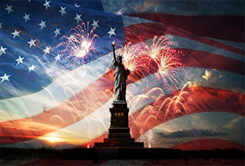 Yeele 6x4ft America Flag Background for Photography Glitter Sand Independence Day Stars and Stripes Fireworks Sunset The 4th of July Celebration Photo Backdrop Studio Props Wallpaper ()