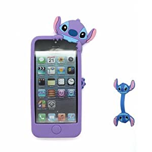 Euclid+ - Purple Stitch & Lilo Hide and Seek Style Silicone Soft Case Cover for Apple iPhone 5 5s 5th 5g 5Generation with Stitch Style Cable Tie