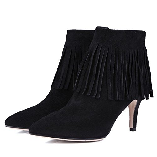COOLCEPT Women Casual Stiletto Zip Fringe Boots Ankle High Black tOC8iShYIi