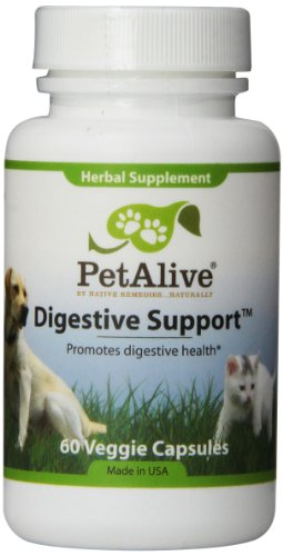 PetAlive Digestive Support for Dog & Cat Digestion, 60 Veggie Caps