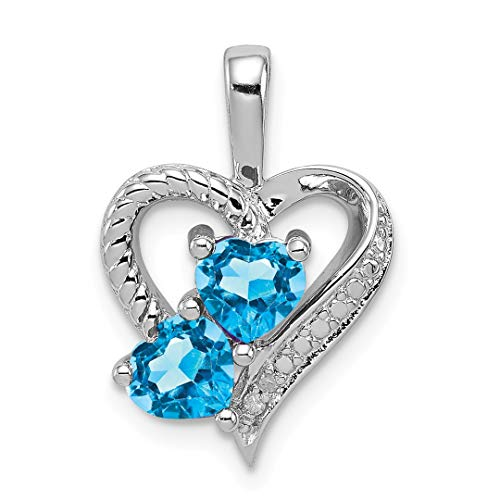 925 Sterling Silver Blue Topaz Diamond Pendant Charm Necklace Gemstone Fine Jewelry For Women Gift Set ()