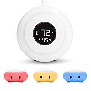 Kelvin Color Changing Nursery Night Light, Customizable Room Thermometer and Hygrometer for Children/Kids