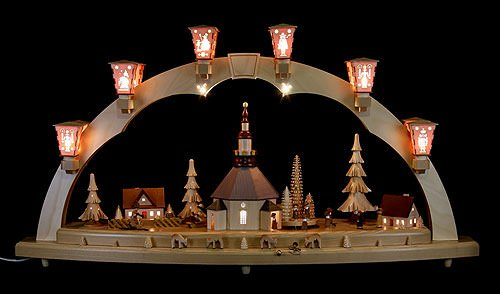 ISDD German candle arch Village of Seiffen, length 80 cm/32 inch, natural, electrically illuminated, with music box, original Erzgebirge by Richard Glaesser Seiffen