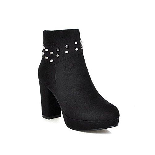 VogueZone009 Damen Hoher Absatz Niedrig-Spitze Reißverschluss Ziehen auf Stiefel Schwarz