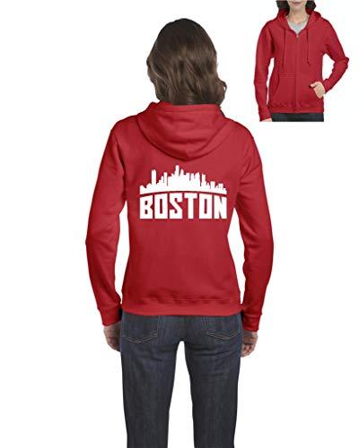 Mom's Favorite Boston Most Visited US Cities Women's Full-Zip Hooded Sweatshirt (LR) -