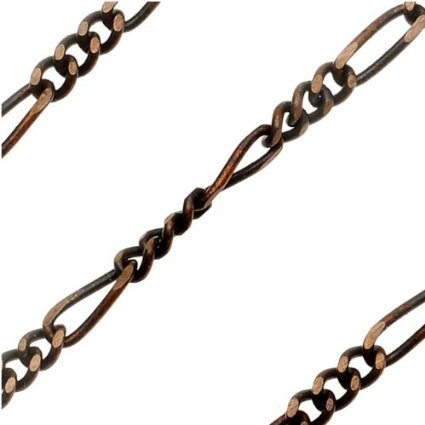 5 Feet! Vintaj Natural Brass Figaro 2mm Chain. 5 FOOT LENGTH Longest Link is Approx 6mm. Natural Brass, Jewelry Making