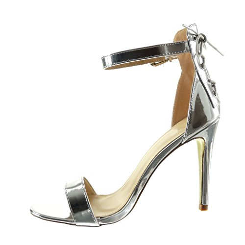 Angkorly - Chaussure Mode Escarpin Sandale stiletto sexy femme lacets lanière Talon haut aiguille 10.5 CM - Argent