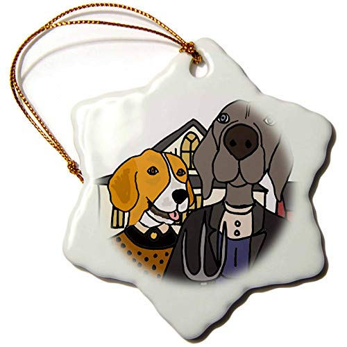 3dRose All Smiles Art - Animals - Cool Funny Beagle Dog and Weimaraner American Gothic Farmers Art - 3 inch Snowflake Porcelain Ornament (ORN_308359_1)