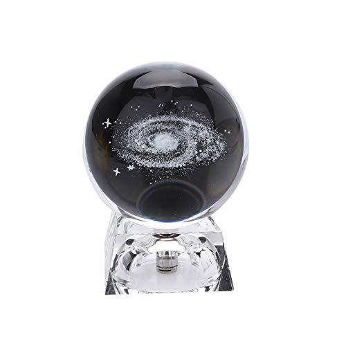 Solar System Galactic Crystal Ball with a Switch LED Light Base, 3D Laser Engraved Sun System Galactic System Cosmic Model Crystal Balls with Names of Celestial Bodies 1 Pcs(Galaxy + light base)