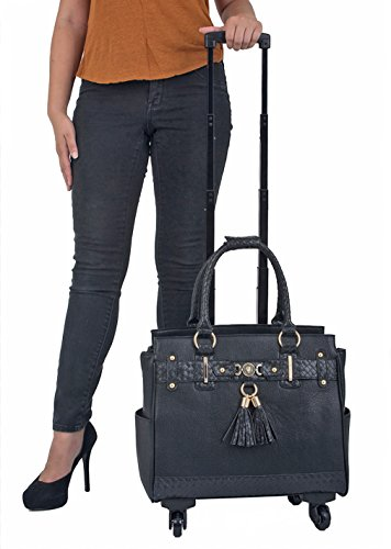 ''The Berkeley'' Black Spinner Wheel Rolling iPad Tablet or Laptop Tote Carryall Bag by JKM and Company (Image #1)
