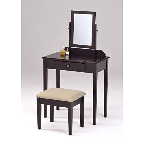 Siam Circus Espresso Finish Contemporary Bedroom Vanity Set And Stool