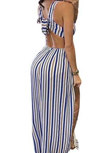 Dress Striped Blue V Maxi Deep Long Side Coolred Neck Backless Slit Women's OBpqHp
