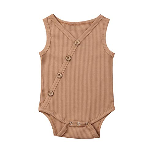 LiLiMeng Toddler Baby Kids Girls Boys Sleeveless Solid Romper Sunsuit Bodysuit Cotton Clothes Oblique Button Stripe Coffee ()