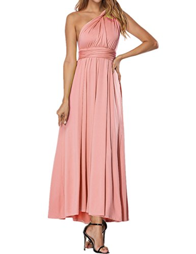 SELUXU Vestido de Las Mujeres de Alta Cintura Convertible Multi-Forma Abrigo Dama de Honor Formal Largo Vestidos Maxi Transformador/Infinito Vestido Rosa
