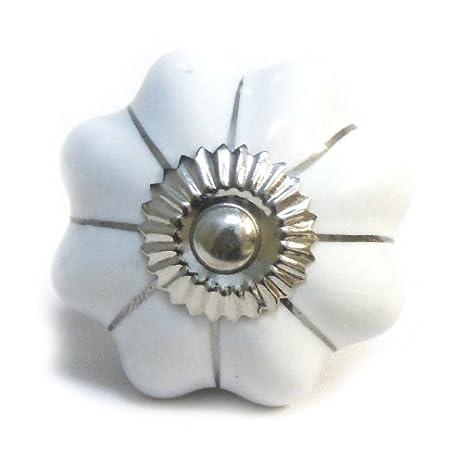 Amazon.com: White Silver Mushroom Kitchen Ceramic Cupboard Door Knob ...