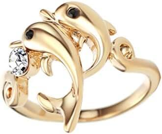 Neoglory Jewelry Rhinestone Made with Swarovski Elements Fashion Dolphin Animal Rings #7#8#9