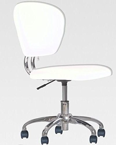 New White PU Leather Mid-Back Mesh Task Chair Office Desk Task Chair H20 by BestOffice