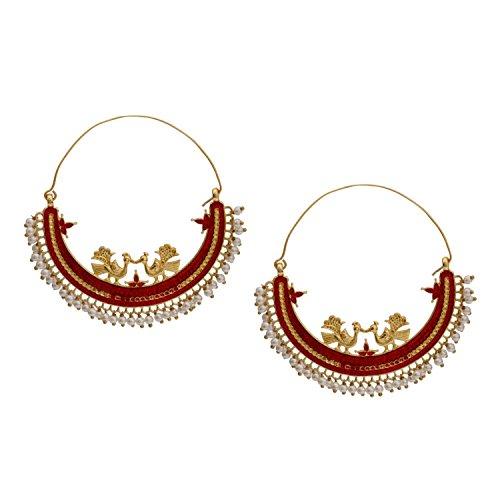 14k Gold Gypsy Hoop Earrings - Efulgenz Indian Bollywood 14K Gold Plated Crystal Pearl Half Moon Inspired Big Hoop Dangle Earrings Jewelry