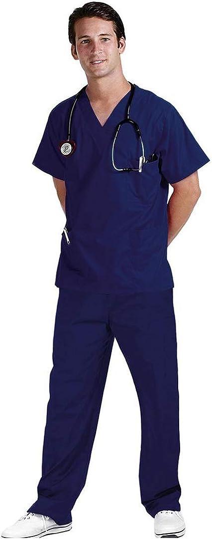 MSemis Ricamo Gratuito Divisa Ospedaliera Sanitaria Uniforme Medica OSS Estetista Completo da Lavoro Donna Casacca//Pantalone Scollo V Unisex per Infermiera Laboratorio Medico