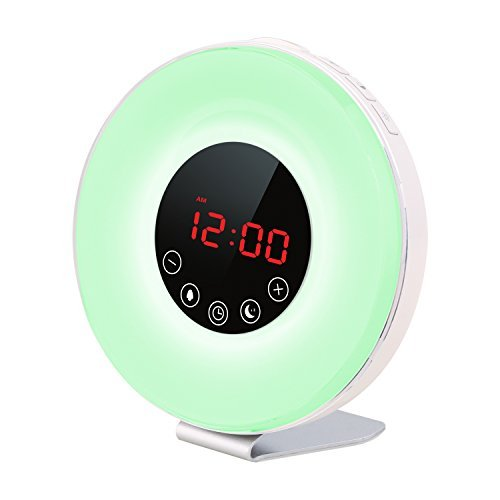Porseme Sunrise Alarm Clock, Wake Up Light Digital Alarm Clock With Sunrise/Sunset Simulator,7 Colors Night Light, Nature Sounds and FM Radio, Touch Control and Snooze Function For Heavy Sleepers