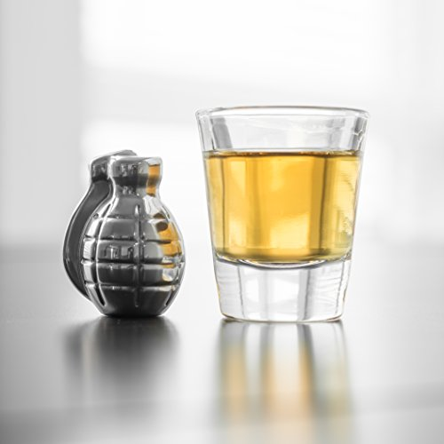Whiskey Stones Grenade Shaped Stainless Steel with Storage Bag (Set of 4) by BarMe (Image #8)