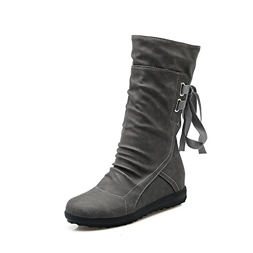 Fashion ZHZNVX Shoes Boots Grey Booties Gray Women's Boots Ankle Boots Round for Heel Black Toe HSXZ leather Casual Yellow Winter Fall Dress Low Nubuck Srfrxn