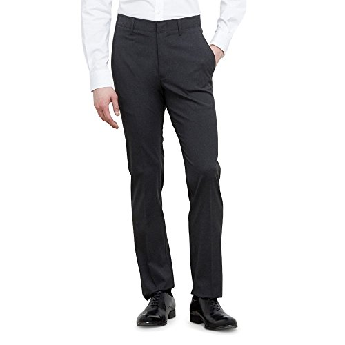 Dress Pants Gray Charcoal (Kenneth Cole REACTION Men's Athleisure Heather Flex Waistband Flat Front Slim Fit Pant, Charcoal, 33Wx30L)