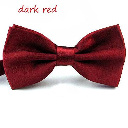 Hot Dresses Mens Pre Tied Mens Adjustable Bow Tie Fancy Plain Tie (Red Bow Tie)
