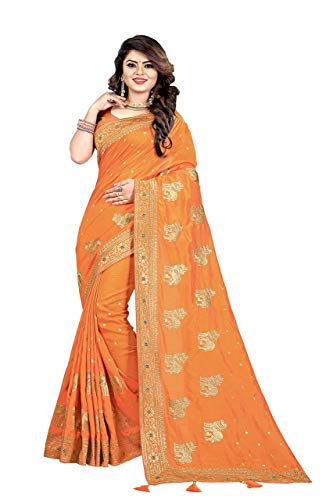 (Gaurangi Creation Silk Saree with Blouse Piece (JV5128O_Orange_Free Size))
