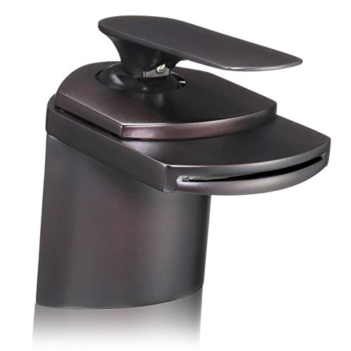 FREUER Cascate Collection: Modern Bathroom Sink Faucet in Oil Rubbed Bronze