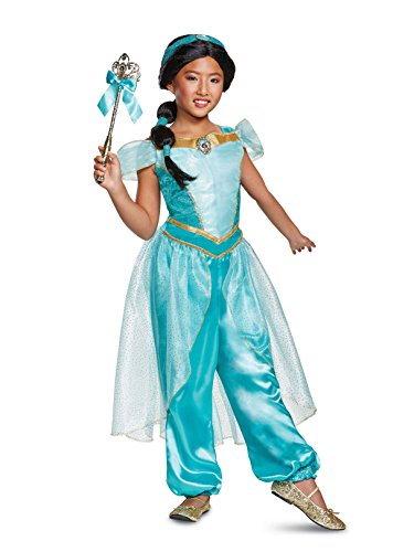 Disguise Jasmine Deluxe Child Costume, Teal, Medium/(7-8)
