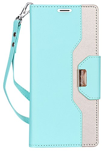 ProCase Galaxy Note 9 Wallet Case, Flip Kickstand Case with Card Slots Mirror Wristlet, Folding Stand Protective Cover for Galaxy Note 9 2018 -Mint