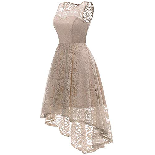 Asymmetrical A Sunmoot Lace Dress Wedding Women's Midi Swing Tea Beige Party Cocktail Line Skater PaawBExq1