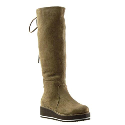 Angkorly - Women's Fashion Shoes Boots - cavalier - biker - platform - rhinestone - laces - fringe Wedge 4.5 CM Khaki mEWHN