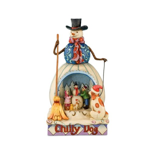 Enesco Jim Shore Heartwood Creek Snowman Chilly Dog with Diorama Kids Building Snowman Scene Figurine, 9-1 2 Inches